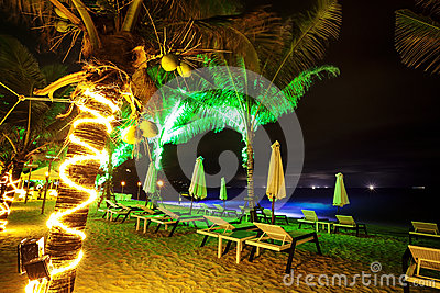 Tropical Beach At Night Time Royalty Free Stock Images - Image: 27074149