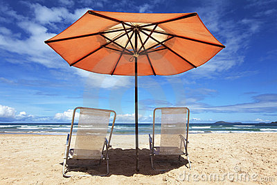 Tropical beach with parasol