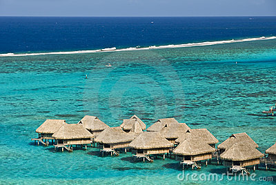 Tropical beach resort on moorea in south seas