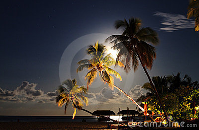 Tropical beach resort at night.