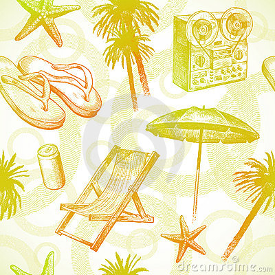 Tropical beach resort - seamless background