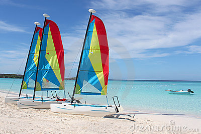 Tropical beach sailboats