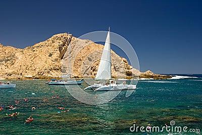 Tropical Beach with Sailboats
