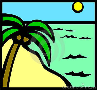 Tropical beach scene vector illustration