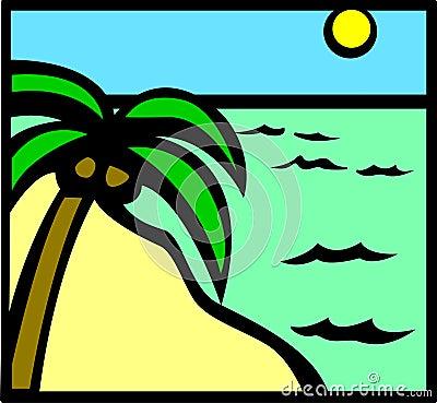 Tropical beach scene vector illustration