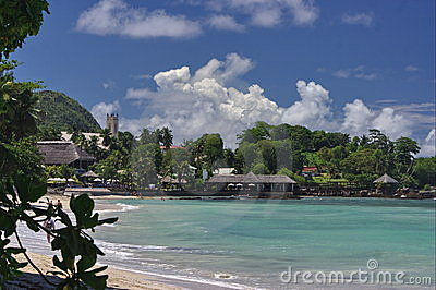 Tropical beach, seaside resort.