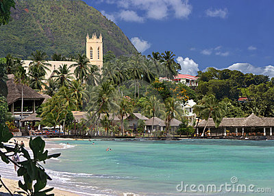 Tropical beach, seaside resort.