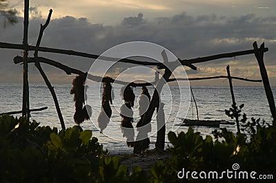 Tropical beach silhouettes