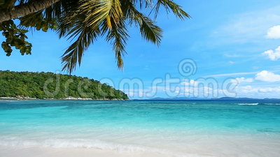 Tropical beach. And small island stock video