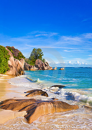 Tropical beach Source D Argent at Seychelles