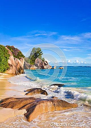 Tropical beach Source D Argent at Seychelles