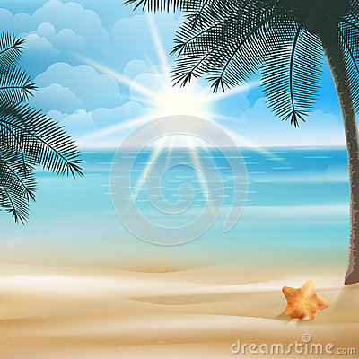 Tropical beach with Starfish design template. Vector Illustration