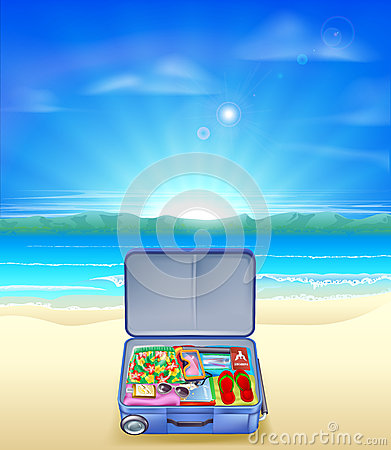 Tropical beach with Suitcase