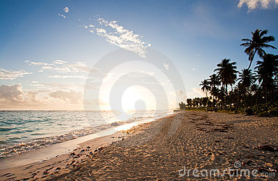 Tropical beach sunrise