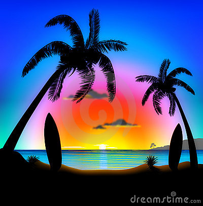 Tropical beach at sunset Surfing Illustration