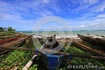 Tropical beach at Ujung Genteng Indonesia