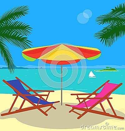 A tropical beach is in a vector