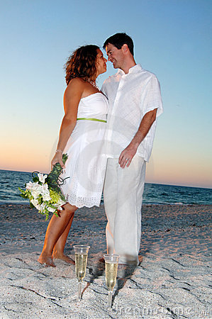 Tropical Beach wedding couple