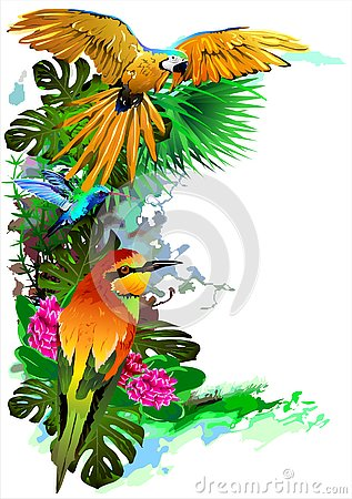 Free Tropical Birds. Vector Royalty Free Stock Images - 131390599
