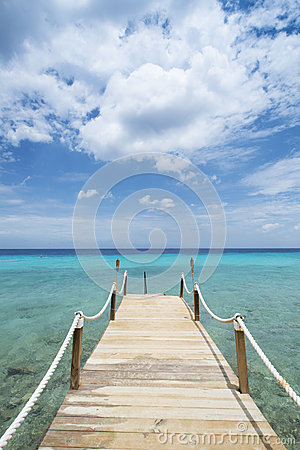 Tropical Caribean beach pier Curacao