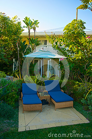 Tropical Chaise Lounge Setting