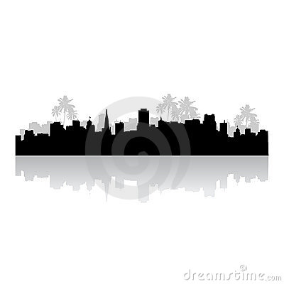 Tropical cityscape silhouette