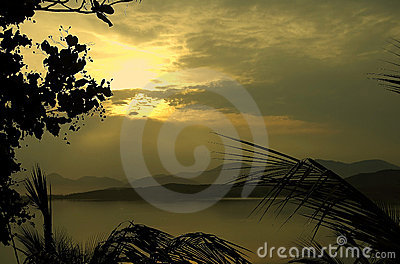 Tropical coastline at sunset
