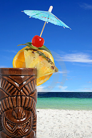 Tropical cocktail drink at the beach