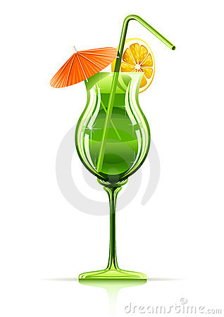 Tropical cocktail in glass Vector Illustration