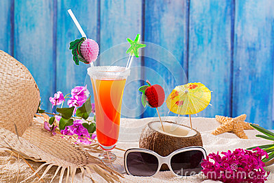 Tropical cocktails on blue wood and sand sex on the beach