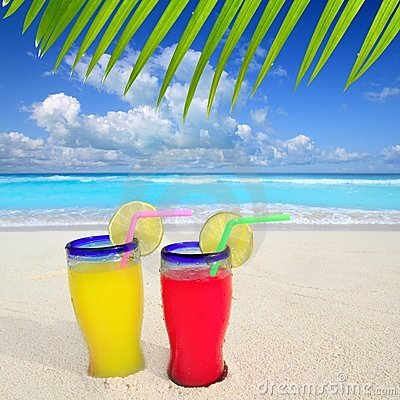 Tropical cocktails turquoise beach
