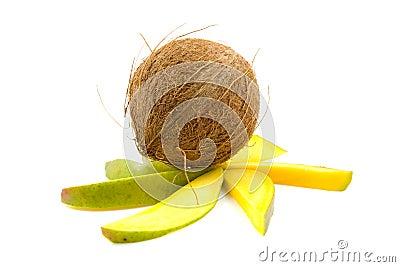 Tropical coconut on mango slices