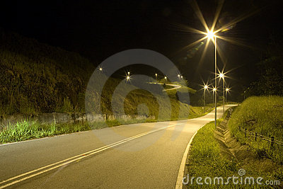 Tropical Country Road at Night