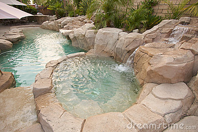 tropical custom pool jacuzzi stock image image 5740341. Black Bedroom Furniture Sets. Home Design Ideas