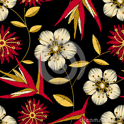 Free Tropical Detailed Embroidery Floral Design In A Seamless Pattern Royalty Free Stock Image - 44043596