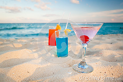 Tropical drinks on Caribbean beach