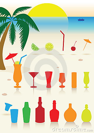 Tropical drinks set.