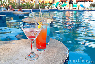 Tropical drinks at swimming pool