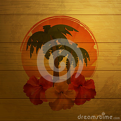 Tropical emblem on wood