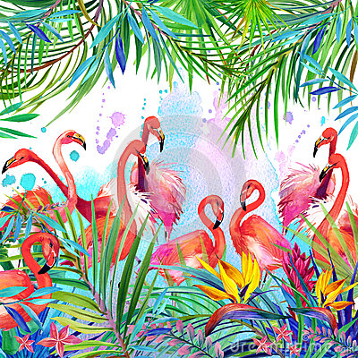 Free Tropical Exotic Bird, Leaves And Flowers. Royalty Free Stock Photo - 53934815