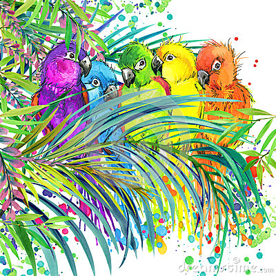 Free Tropical Exotic Forest, Green Leaves, Wildlife, Parrot Bird, Watercolor Illustration. Watercolor Background Unusual Exotic Nature Royalty Free Stock Photography - 56094537