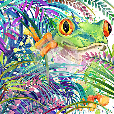 Free Tropical Exotic Forest, Tropical Frog, Green Leaves, Wildlife, Watercolor Illustration. Royalty Free Stock Photos - 61485168
