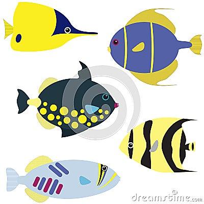 Free Tropical Fish Vector Set Royalty Free Stock Photo - 29753555