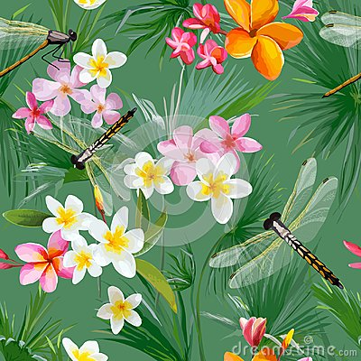 Free Tropical Floral Seamless Pattern With Dragonflies. Botanical Background With Palm Tree Leaves And Exotic Flowers Royalty Free Stock Image - 106137486