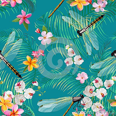 Free Tropical Floral Seamless Pattern With Dragonflies. Botanical Wildlife Background With Palm Tree Leaves And Exotic Flowers Royalty Free Stock Images - 106137359