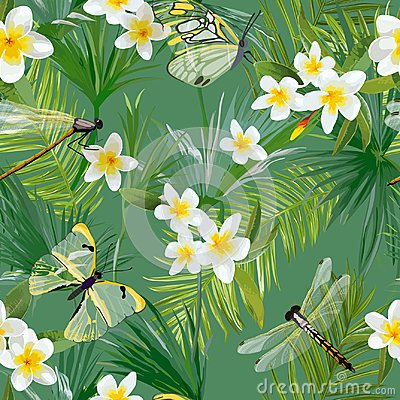 Free Tropical Floral Seamless Pattern With Dragonflies. Jungle Background With Palm Tree Leaves And Exotic Flowers Stock Images - 106137434