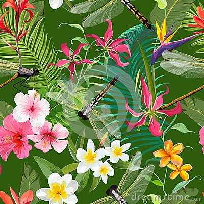 Free Tropical Floral Seamless Pattern With Dragonflies. Nature Background With Palm Tree Leaves And Exotic Flowers Stock Photography - 106137482