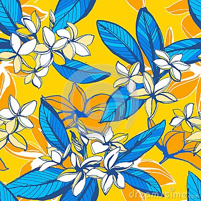 Free Tropical Floral Summer Seamless Pattern With Plumeria Flowers Palm Leaves Stock Images - 118255064