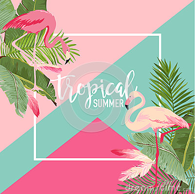 Free Tropical Flowers And Flamingo Summer Banner, Graphic Background, Exotic Floral Invitation, Flyer Or Card. Modern Front Page Royalty Free Stock Photography - 92833737