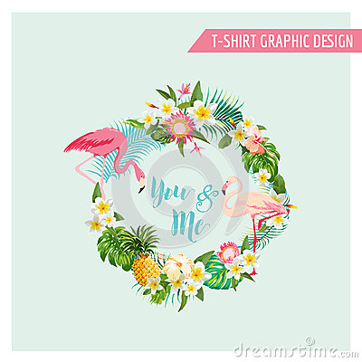 Free Tropical Flowers And Flamingo Wreath Royalty Free Stock Images - 66944339